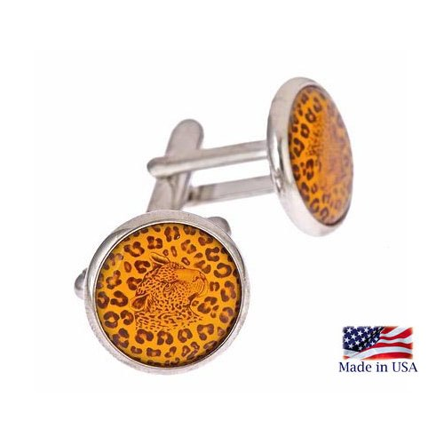 JJ Weston silver plated cufflinks with Leopard design image with presentation box. Made in the U.S.A