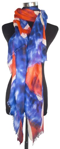 Large Red, White and Blue, McQueen Style, Union Jack Chiffon Scarf or Sarong