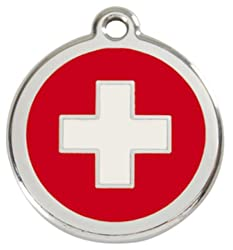 Swiss Cross - Dog ID Tag, Pet Disc, Pet Tag - Stainless Steel by Red Dingo by Red Dingo