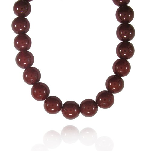 16mm Round Red Agate Bead Necklace, 50