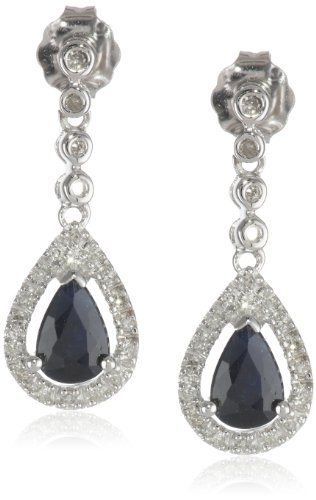 14K White Gold Gemstone and Diamond Drop Earrings