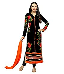 Starword Beautiful Heavy Black Rose suite Semi stiched Dress Material High Qualitty