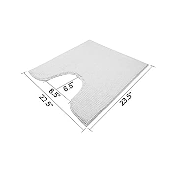 VDOMUS Soft Toilet Rug 3 Pieces Set, Non Slip Bathroom Rugs, U-Shaped Toilet Mat, Elongated Toilet Lid Cover (White)
