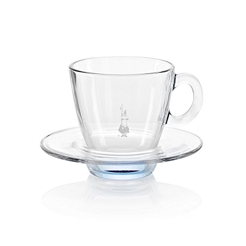 Bialetti RTATZ826 - Tazza da cappuccino in vetro temprato, dimensioni: 8,3 x 8,2 x 8,7 cm, colore: trasparente/azzurro