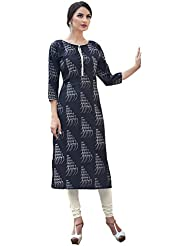 EthnicCrush Women's Cotton Printed Kurti(ECHTBinto1511,Black)