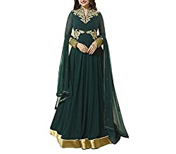 Neets Fashion Women's Cotton Semi Stitched Dress Material(GAU-2945_Green)