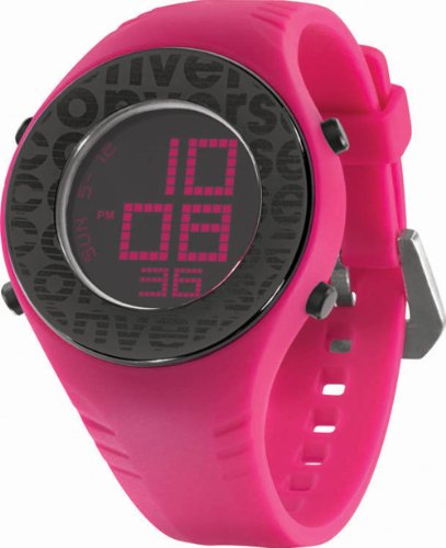 Converse Women's VR007670 Pickup Black Digital Dial and Hot Pink Polyurethane Strap Watch