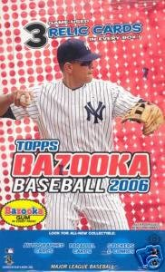 2006 Topps Bazooka Baseball Cards Hobby Box (24 packs/box, 8 cards/pack, 3 memorabilia cards per box!)