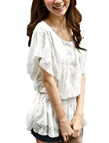 Allegra K Ladies Scoop Neck Lace Short Sleeve Lining Blouse Top