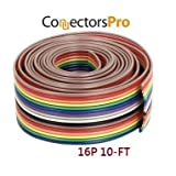 Pc Accessories - 10 Feet IDC 16P 1.27mm Rainbow Color Flat Ribbon Cable 16 Conductors for 2.54mm Connectors (Tamaño: 16P10FT)