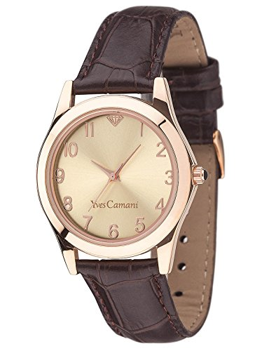 Yves Camani Women's Durance Quartz Watch with Rose Gold Dial Analogue Display and Brown Leather Bracelet YC1058-D