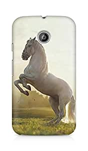 Amez designer printed 3d premium high quality back case cover for Motorola Moto E (Beautiful White Horse)