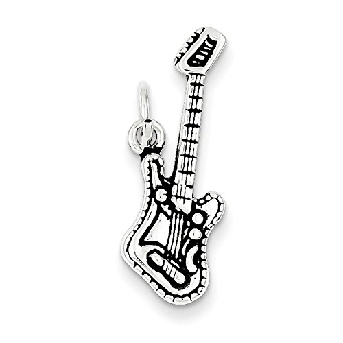 Sterling Silver Antiqued Electric Guitar Charm. Metal Wt- 2.02G