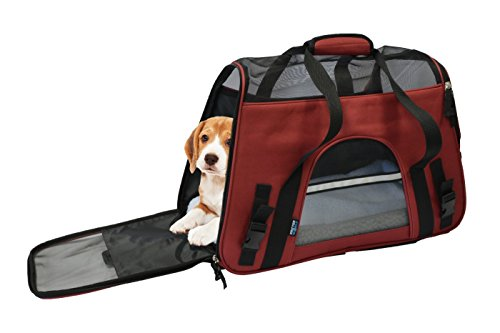 KritterWorld 19-Inch Large Soft Sided Pet Carrier Comfort Airline Approved Travel Tote Shoulder Bag for Small Dogs Cats Small Animals Tote w/ Seat Belt Buckle & Removable Fleece Bed – Red