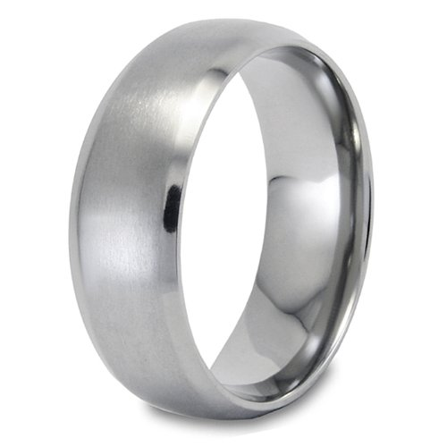 Domed Brushed Finish Titanium Ring (8mm) - Size 12.0