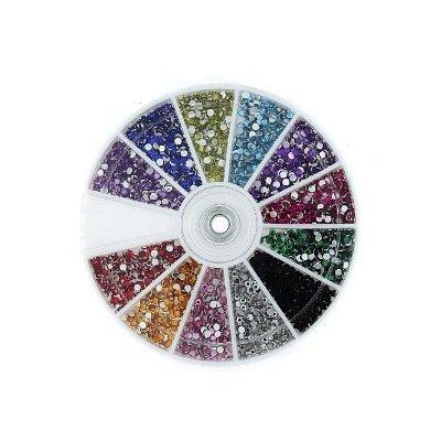MASH Rhinestones 2400 Piece 12 Color Nail Art Nailart Manicure Wheels