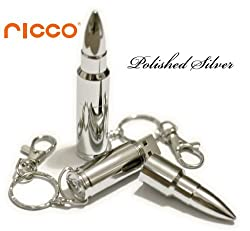 Ricco ® Aluminum Metal Bullet USB High Speed Flash Memory Key Pen Drive Disk Stick Waterproof and Shockproof (Ricco ® 01-017) (8GB Polished Silver)
