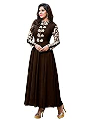 Shree Sanskruti Women's Georgette Dress Material (Feminacoffe_Brown)