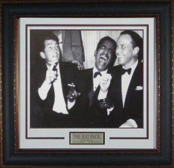 rat-pack-unsigned-16x20-vintage-bw-photo-leather-framed-w-frank-sina