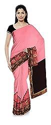 Priyam Sarees Women's Georgette Saree (Pink & Brown)