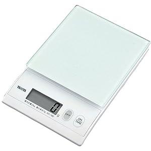 タニタ デジタルクッキングスケール 2kg 強化ガラス製の計量皿 ホワイト KD-182-WH
