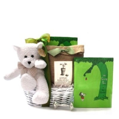The Giving Tree - Green, Eco-Friendly New Baby Gift Basket Featuring Book by Shel Silverstein & A Plant-a-Tree Kit - Great Shower or Christening Gift Idea for Newborns