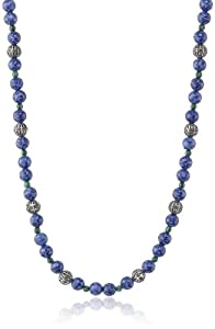 "Artisan Blue Acrylic Beaded Antiqued Silver-Tone Necklace, , 36""+3"" Extender"