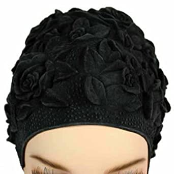 Luxury Divas Black Floral Emboss Vintage Style Latex Swim Bathing Cap