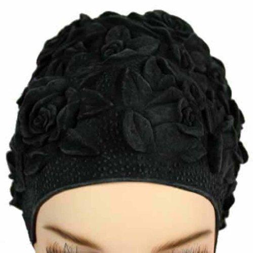 Luxury Divas Floral Embossed Vintage Style Latex Swim Bathing Cap