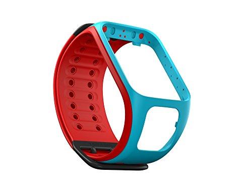 TomTom Cinturino Compatibile con Runner2/Spark, Azzurro/Rosso, Large