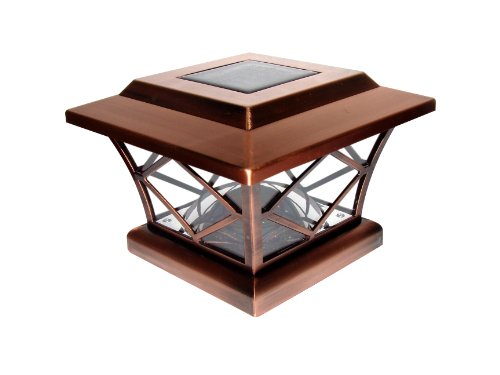 Pine Top 511-0010 2-Light LED Solar-Powered Plastic Fence-Post Cap, Copper