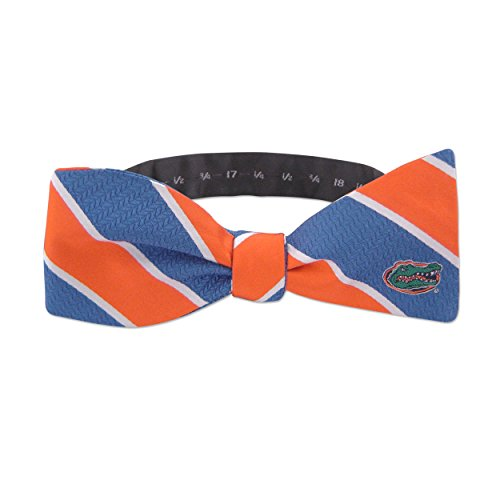 woven Silk Repp Stripe Collegiate Logo Bow-Tie, Florida Gators,One Size,Royal