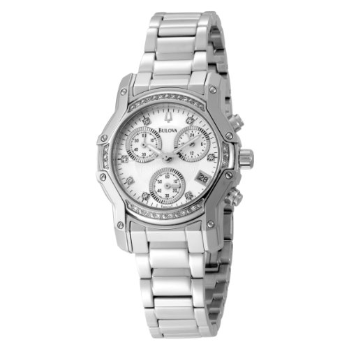 Bulova 96R138 Ladies Diamonds Chronograph Silver Watch