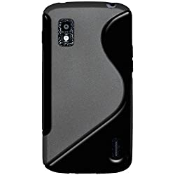 Amzer AMZ95219 Dual Tone TPU Hybrid Skin Fit Case Cover for Google Nexus 4 E960/LG Nexus 4 E960 - 1 Pack - Retail Packaging - Black