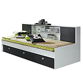 funktionsbett manuel wei grau inkl schubladen regal kinderbett. Black Bedroom Furniture Sets. Home Design Ideas