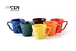 MPU Value Mart Multi colour Diamond Shaped Tea/Coffee Cups 130 ml, Set of 6 Pieces, Multicolour