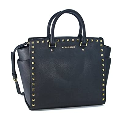 michael kors large selma studded saffiano tote black. Black Bedroom Furniture Sets. Home Design Ideas
