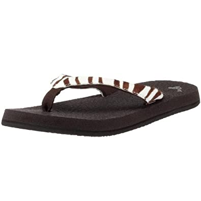 Sanuk Women's Yoga Safari Thong Sandal,Zebra,5 M US