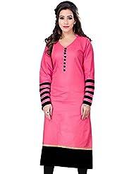 7thWonder Pink & Black Color Cotton Printed Semi-Stitched Kurti-7WH472KIC2005CN