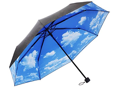 smile-store(スマイルストア) 雨の日に 綺麗な 青空 白い雲 折りたたみ 傘 カバー付き 紫外線 UVカット (SKY1)