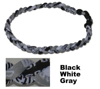 24&quot; Black White Gray Titanium Sports Tornado Necklace w/ Case