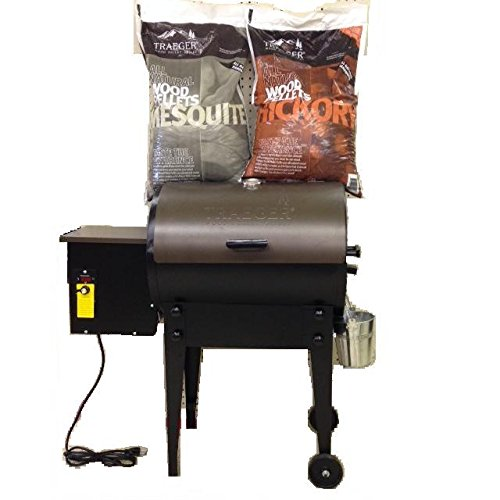 Bundle of 3, Traeger Tailgater TFB30LZB Pellet Grill WITH 20 lb Traeger PEL 319 Hickory Wood Pellets AND 20 lb Trager PEL 305 Mesquite Wood Pellets. (Traeger Smoker Pellets compare prices)