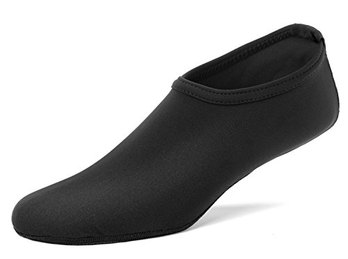 FUN TOES Barefoot Water Skin Shoes Aqua Socks For Beach Pool Sand Swim Surf Yoga Water Aerobics (X-Large Women 8.5-10, Men 7.5-9, Black)