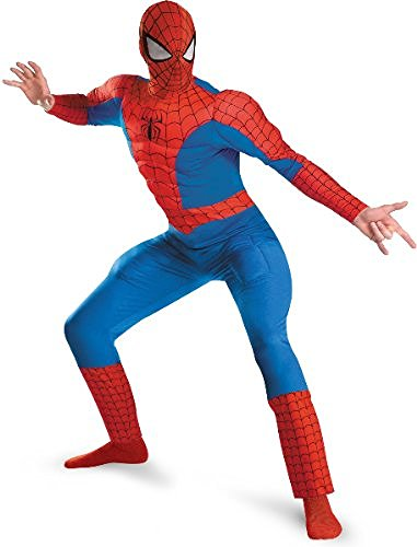 Spider-Man Deluxe Muscle Plus Adult Costume, Red/Blue, Xx-Large (50-52)