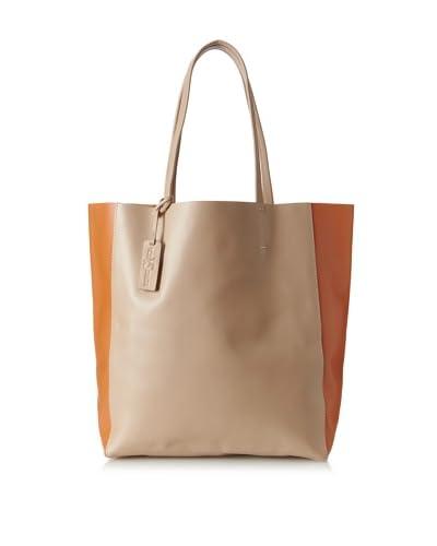 Yosi Samra Women's Ezra Two-Tone Tote Bag, Nude/Tangerine
