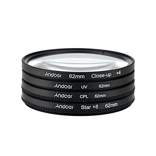 Andoer® 62mm UV+CPL+Close-Up+4 +Star 8-Point Filtro Circolare Kit filtro Polarizzatore circolare Filtro Macro Close-up Stella 8-Point filtro con il Sacchetto per Nikon Canon Pentax Sony DSLR