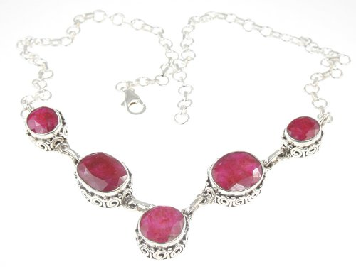 925 Sterling Silver Created RUBY Necklace, 16-17