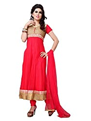 Diva Fusion Womens Net Anarkali Dress Material (Dfa118 _Carrot Red _Free Size)