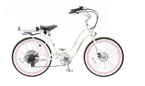 Pedego Step-Through Cruiser White with Pink Rims