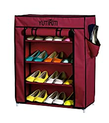 YUTIRITI Fancy 4 Layer Maroon Portable Multipurpose Waterproof Fabric Shoe Rack Cabinate - 23 x 11 x 29 Inch